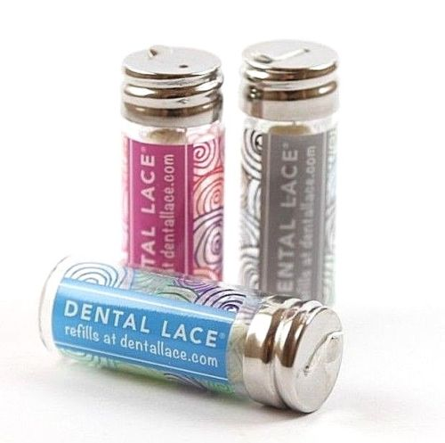 3 glass canisters for dental floss