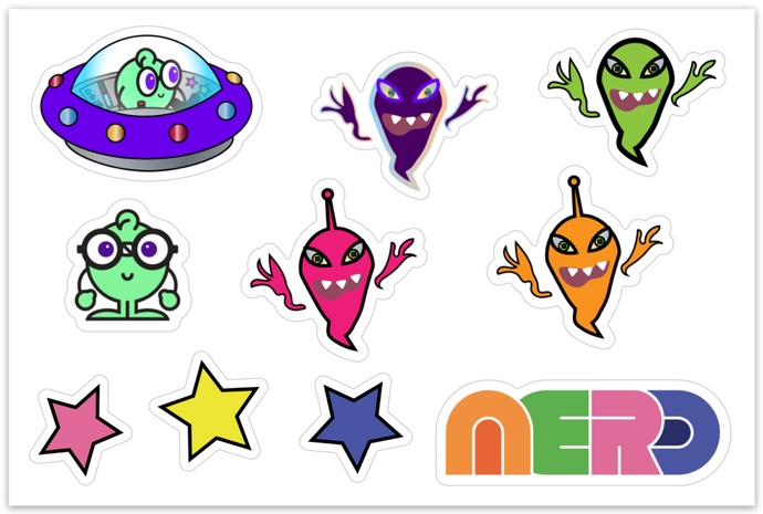 Galactic Nerdy and Ghosties Sticker Pack