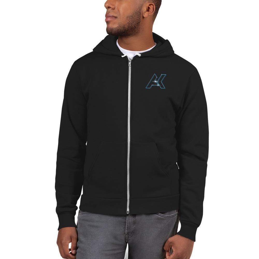 Alex Kinter Premium Zip Up AK Logo EDM Dubstep Hoodie - Black / XS - Hoodies