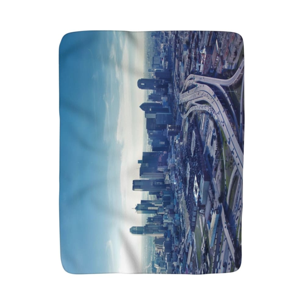 Dallas From The Sky - Sherpa Fleece Blanket - 50x60 - Home Decor