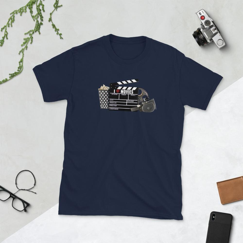 I Love Movies - Short-Sleeve Unisex T-Shirt - Navy / S - Shirts
