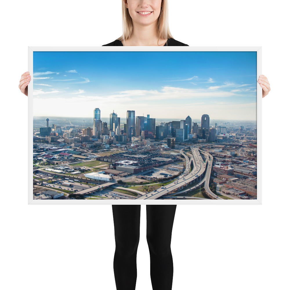 Dallas From The Sky - Framed Fine Art Print