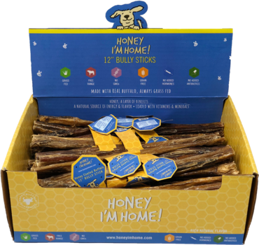 "Honey I'm Home! - Honey Coated buffalo 12"" Bully Stick"