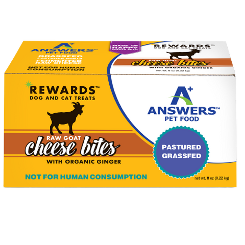 Answers Rewards 8 oz Raw Goat Cheese with Organic Ginger Treat for Dogs & Cats