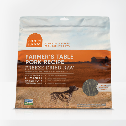 Open Farm 13.5 oz  Farmers Table Pork Freeze Dried Raw