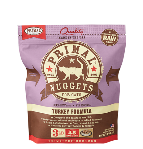 Primal 3lbs frozen nuggets Feline [Turkey]