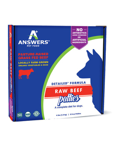 Answers 8 oz dog detailed beef raw frozen Patties 8 ct
