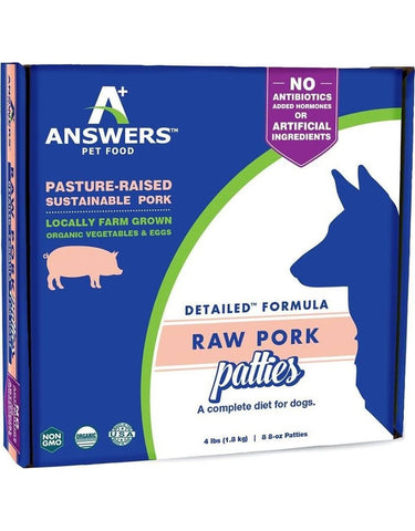 Answers 8 oz Dog Detailed Pork raw frozen patties 8 ct