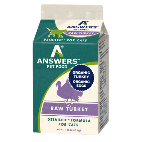 Answers Detailed Frozen Raw Cat Food [Turkey] 1 lbs