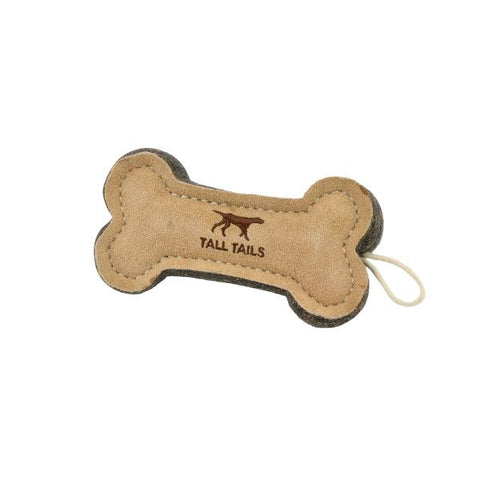 Tall Tails - Natural Leather & Wool Bone Toy
