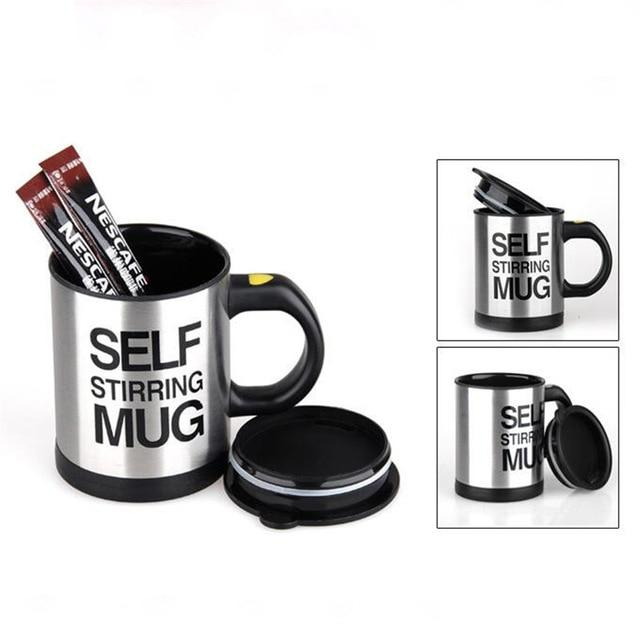 Shopedian Black SELF STIRRING MUG
