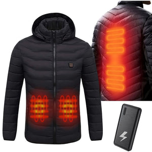 Shopedian Black / XL USB Electric Heating Hooded Jacket Winter Heated Pad Body Warmer for Men & Women