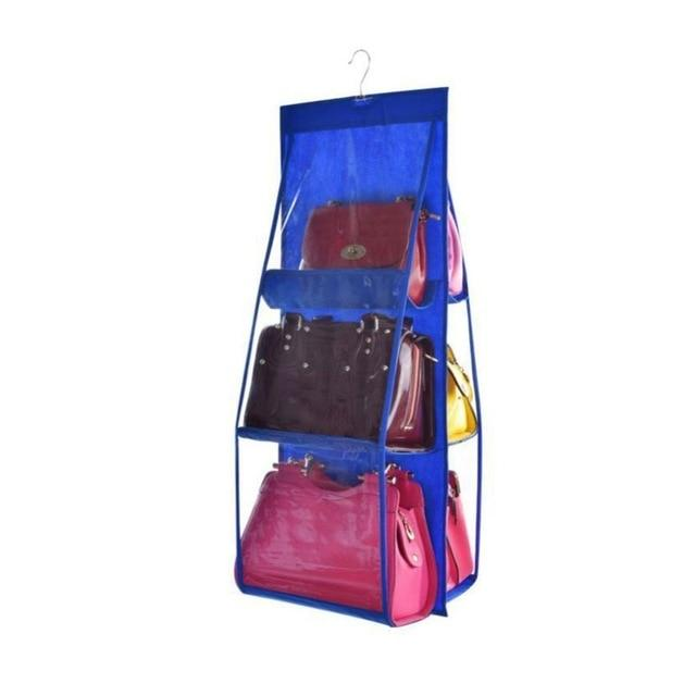 Shopedian Blue / China 6 Pocket Hanging Handbag Organizer