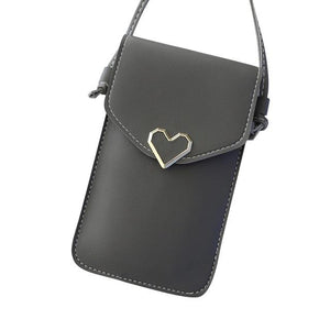 Shopedian Dark Gray / United States Touch Screen Leather Crossbody Smartphone Bag