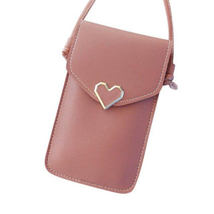 Shopedian Deep pink / United States Touch Screen Leather Crossbody Smartphone Bag