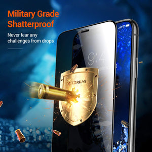 Shopedian for iPhone 12 11 Xs Max Pro X XR Screen Protector [Privacy Protection] [Military Grade Shatterproof] Anti-Scratch Tempered Glass