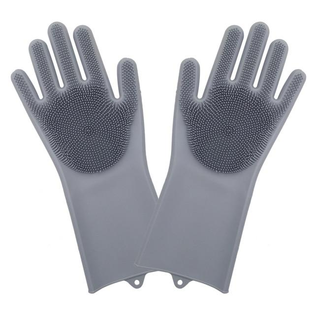 Shopedian Gray (Most Famous) Magic Silicone Dish Washing Gloves