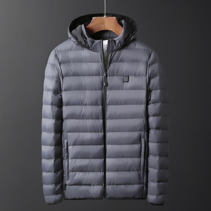 Shopedian Gray / XL USB Electric Heating Hooded Jacket Winter Heated Pad Body Warmer for Men & Women