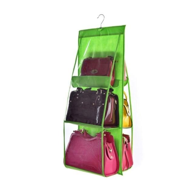 Shopedian Green / China 6 Pocket Hanging Handbag Organizer