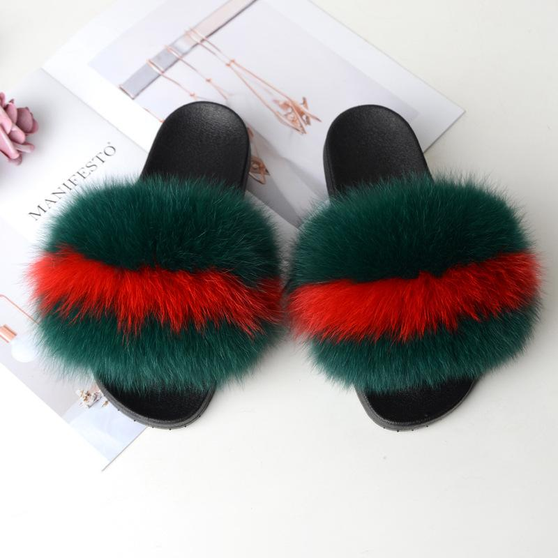 Shopedian Green plus red / 36-37 (25cm) The Gorgeous Ladies Fluffy Slides? Limited Stock!