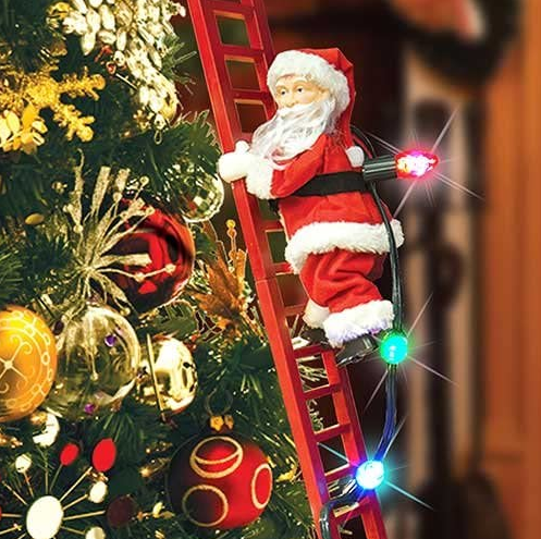 Shopedian Home & Office Red Ladder Climbing Santa - Cute Electric Santa Claus Climbing A Ladder