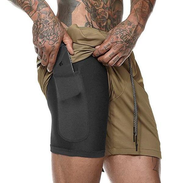 Shopedian Khaki / XXXL / United States Men's Multifunctional New Secure Pocket Fitness Shorts