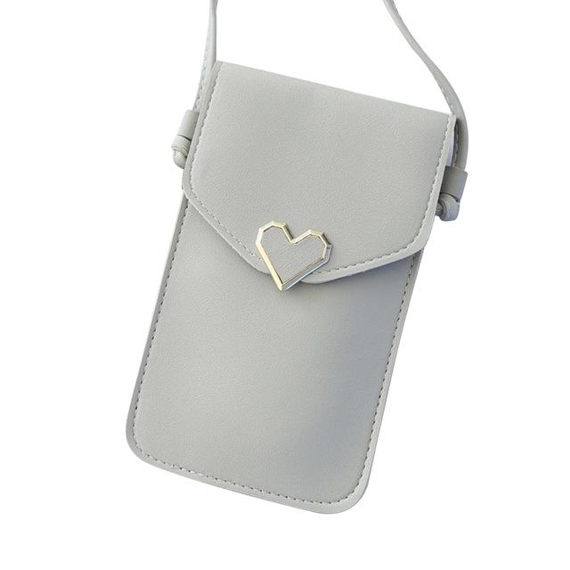 Shopedian Light Gray / United States Touch Screen Leather Crossbody Smartphone Bag