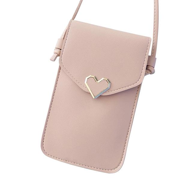 Shopedian Light Pink / United States Touch Screen Leather Crossbody Smartphone Bag