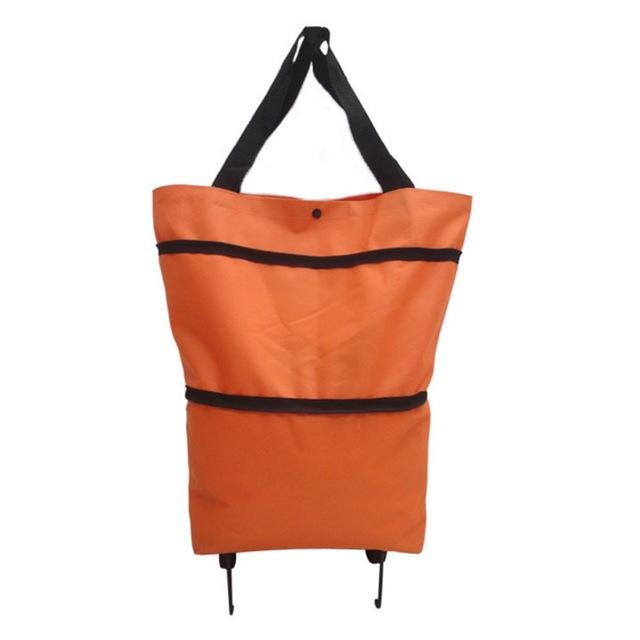 Shopedian Orange / United States Foldable Shopping Trolley Tote Bag