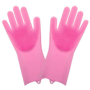 Shopedian Pink Magic Silicone Dish Washing Gloves
