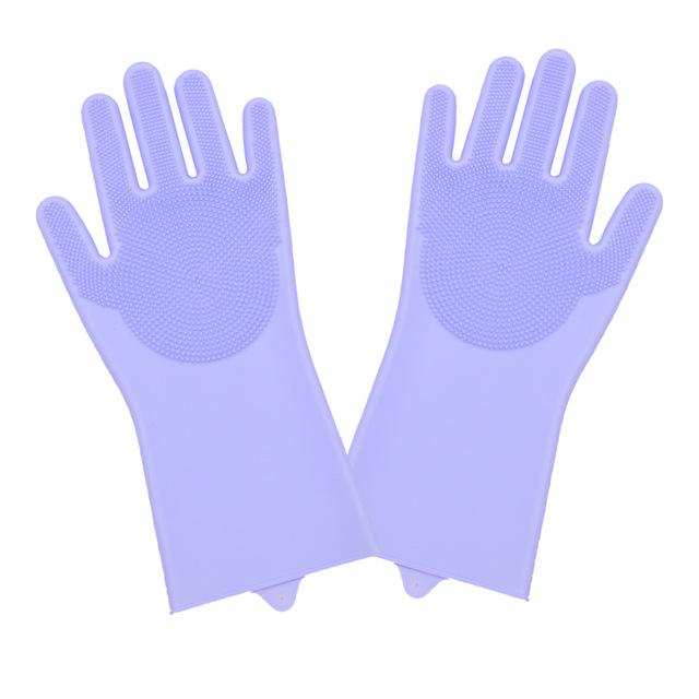 Shopedian Purple Magic Silicone Dish Washing Gloves