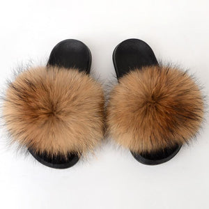 Shopedian Raccoon / 36-37 (25cm) The Gorgeous Ladies Fluffy Slides? Limited Stock!