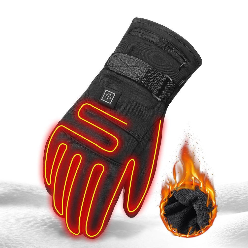Shopedian Rechargeable battery (with reflective strip) / One size Heated Gloves