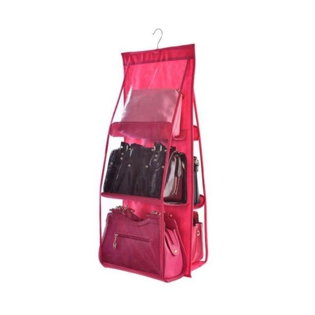 Shopedian Red / China 6 Pocket Hanging Handbag Organizer