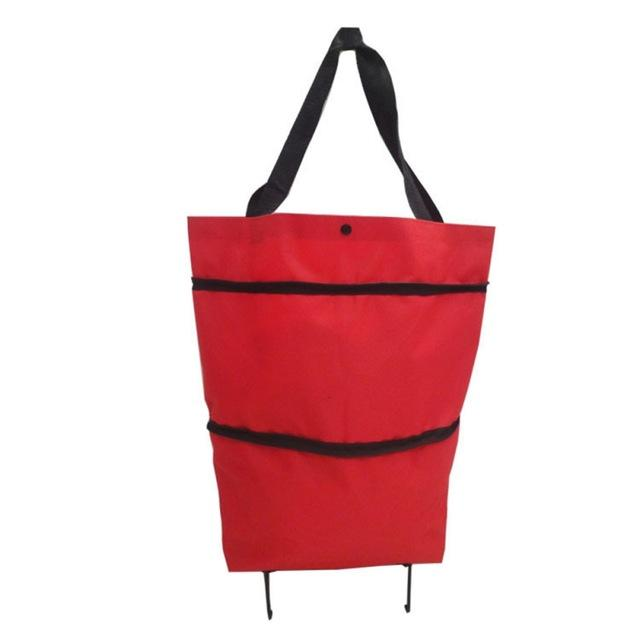 Shopedian Red / United States Foldable Shopping Trolley Tote Bag
