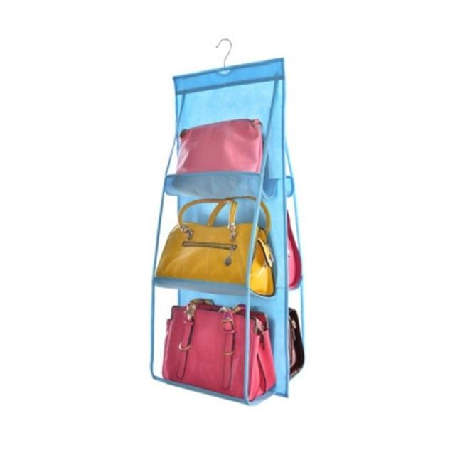 Shopedian Sky Blue / China 6 Pocket Hanging Handbag Organizer