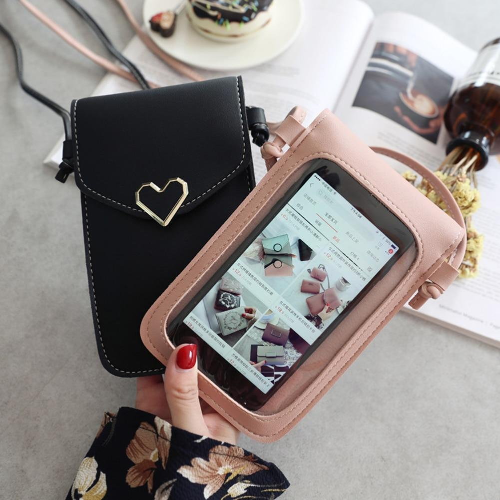 Shopedian Touch Screen Leather Crossbody Smartphone Bag