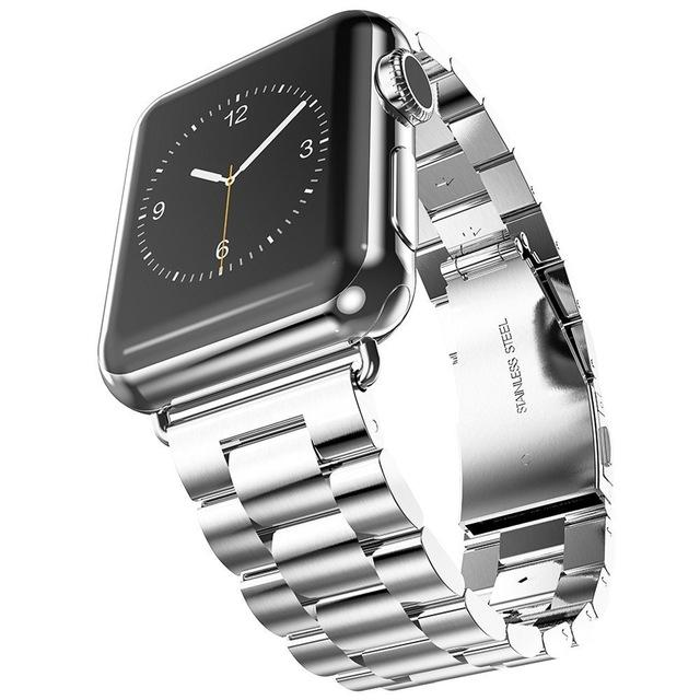 Shopedian United States / Silver / 44mm Stainless Steel Apple Watch Band