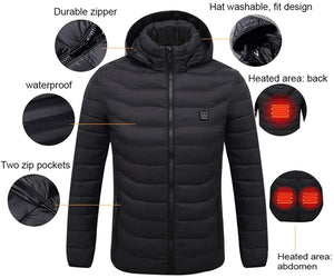 Shopedian USB Electric Heating Hooded Jacket Winter Heated Pad Body Warmer for Men & Women