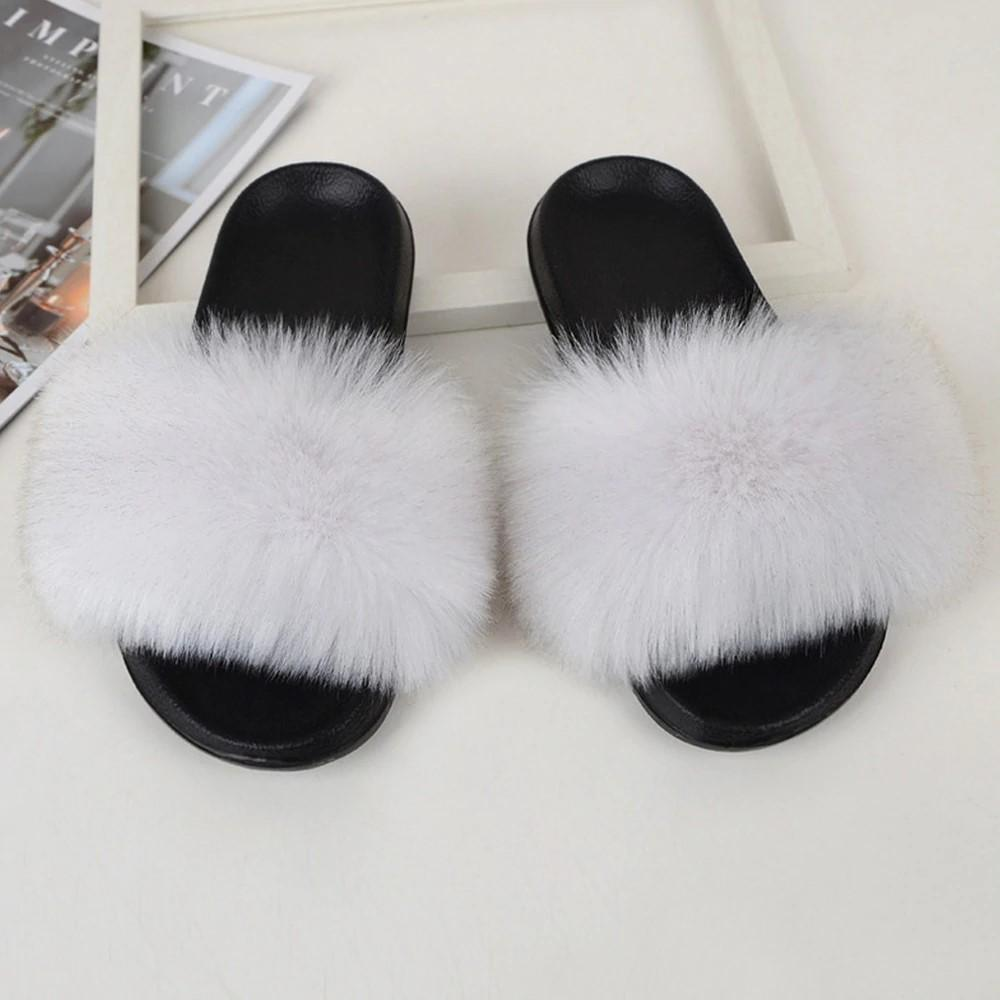 Shopedian White / 36-37 (25cm) The Gorgeous Ladies Fluffy Slides? Limited Stock!