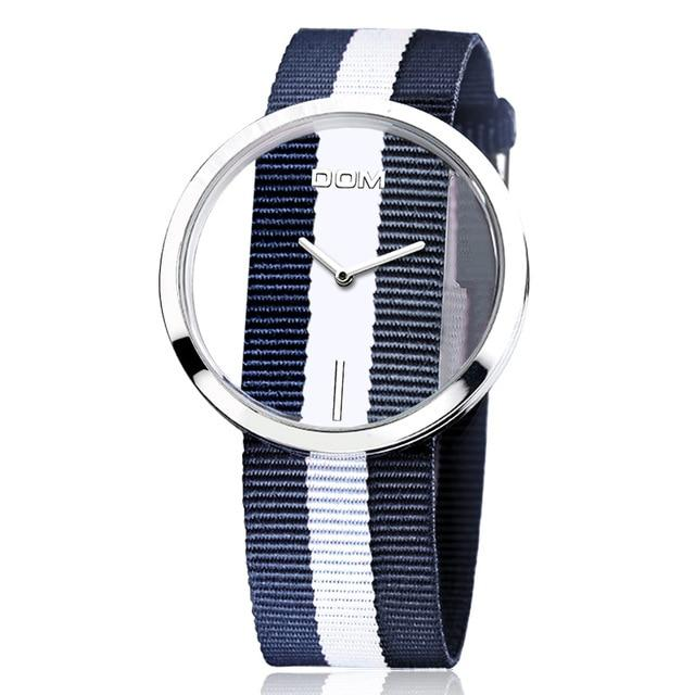 Wanjewl  Blue Nylon Women Unique Style Hollow Skeleton Watch