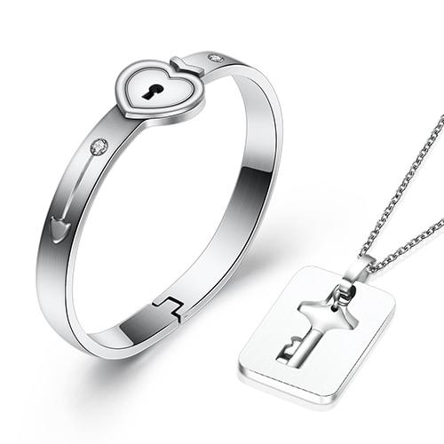 Wanjewl  Style 1 HEART LOCK BRACELET & KEY NECKLACE (Couple)