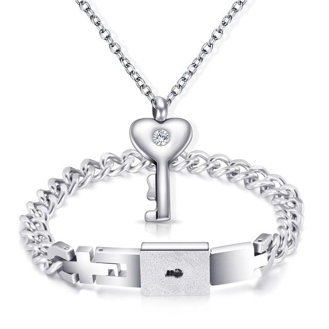 Wanjewl  Style 3 HEART LOCK BRACELET & KEY NECKLACE (Couple)