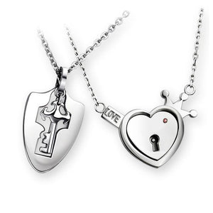 Wanjewl  Style 4 HEART LOCK BRACELET & KEY NECKLACE (Couple)