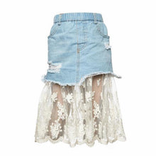 Load image into Gallery viewer, Tiffany Denim and Lace Skirt