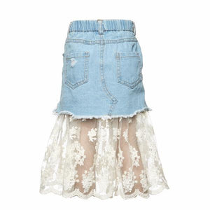 Tiffany Denim and Lace Skirt