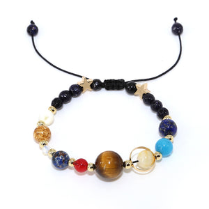 Universe Galaxy Solar System Guardian Star Natural Stone Beads Bracelet