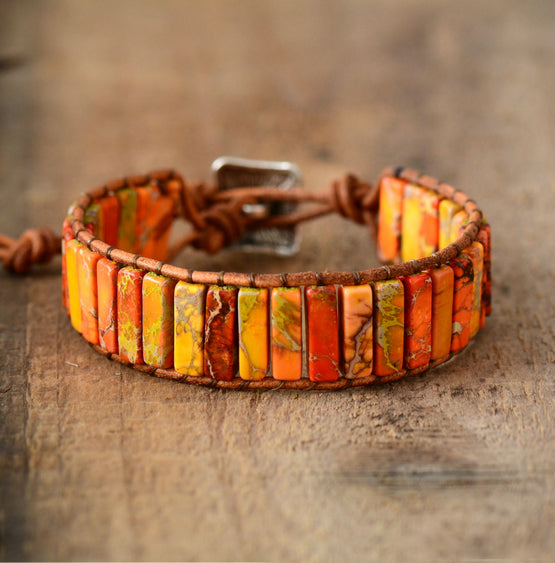 Unisex Bohemian Bracelets Tube Natural Stonse Single Leather Wrap Bracelet Beaded Couples Bracelet Bestfriend Gifts Dropship