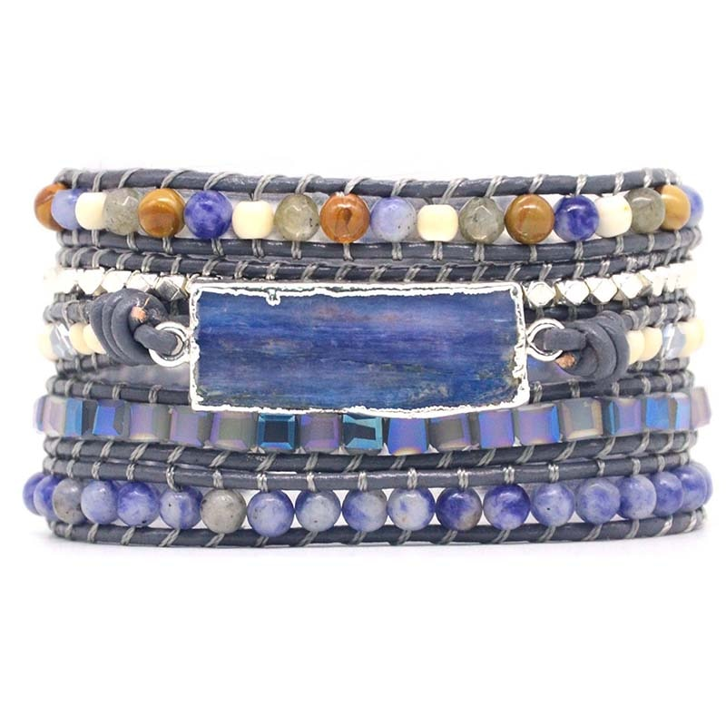 Natural Stone Leather Bracelet Exquisite Mix Stones Women Fashion 5 Layers Wrap Bracelet Boho Chic Bracelet Jewelry Dropshipping