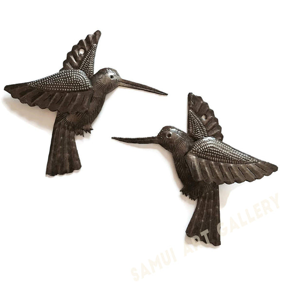 Set of 2 Hummingbirds Haitian Recycled Metal Drum Wall Art 6